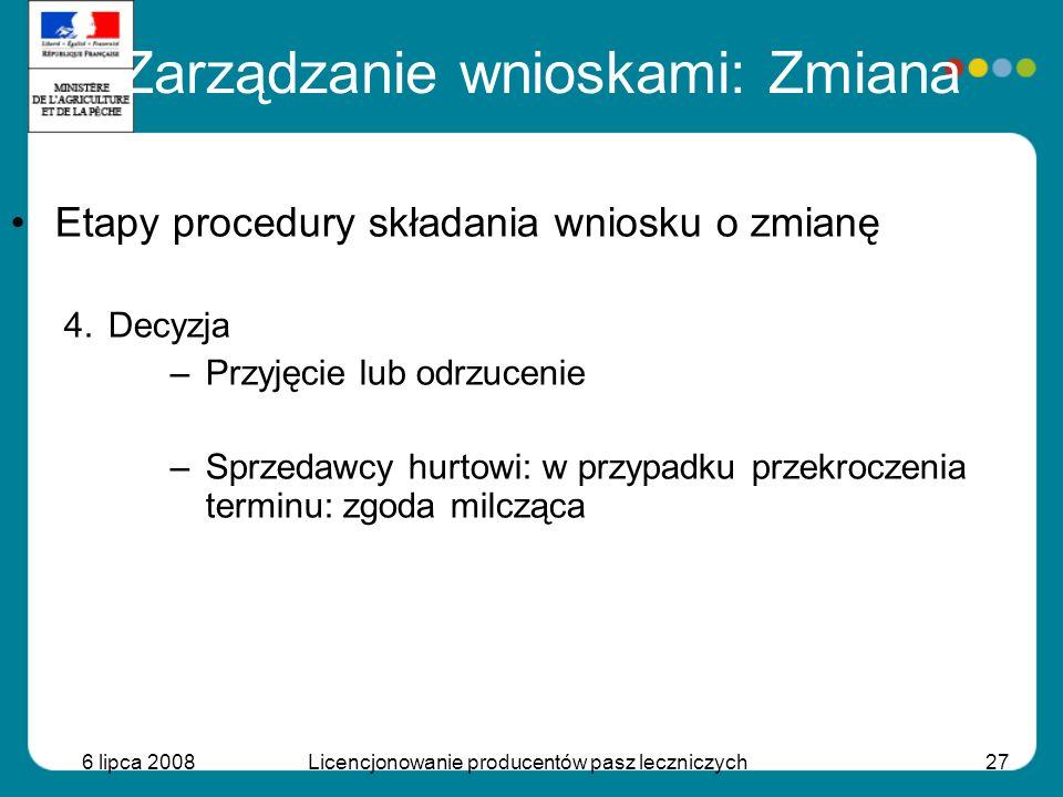 6 lipca 2008Licencjonowanie producentów pasz leczniczych27 Etapy procedury składania wniosku o zmianę 4.Decyzja –Przyjęcie lub odrzucenie –Sprzedawcy