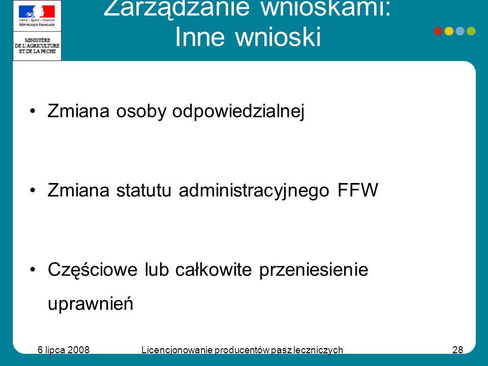 6 lipca 2008Licencjonowanie producentów pasz leczniczych28 Zmiana osoby odpowiedzialnej Zmiana statutu administracyjnego FFW Częściowe lub całkowite p