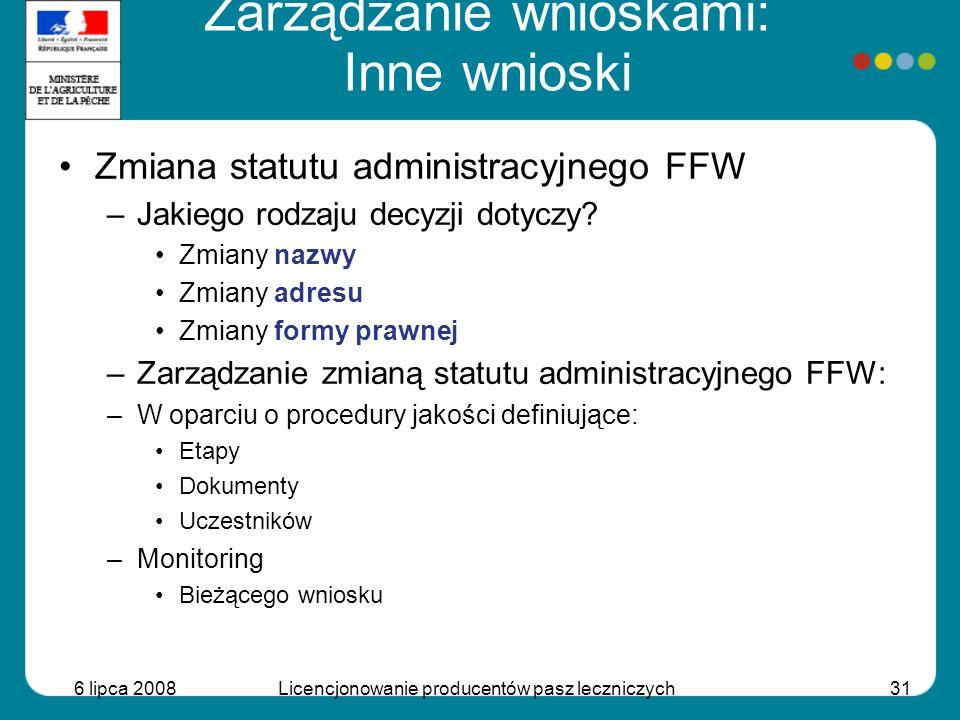 6 lipca 2008Licencjonowanie producentów pasz leczniczych31 Zmiana statutu administracyjnego FFW –Jakiego rodzaju decyzji dotyczy? Zmiany nazwy Zmiany
