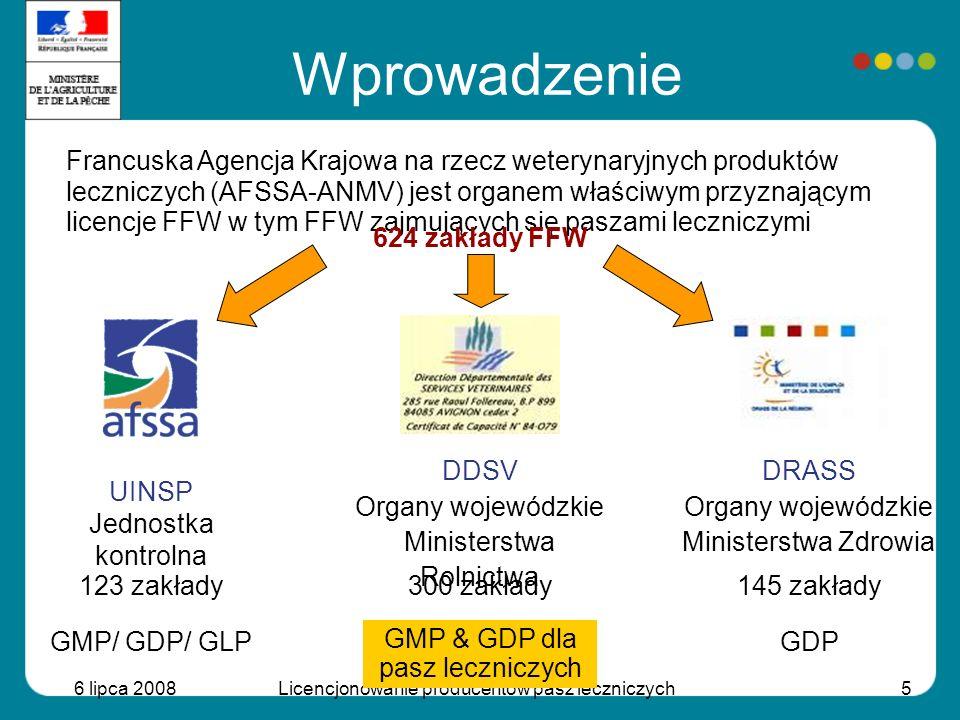 6 lipca 2008Licencjonowanie producentów pasz leczniczych5 Wprowadzenie Francuska Agencja Krajowa na rzecz weterynaryjnych produktów leczniczych (AFSSA