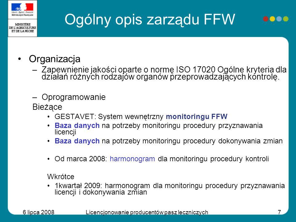 6 lipca 2008Licencjonowanie producentów pasz leczniczych7 Organizacja –Zapewnienie jakości oparte o normę ISO 17020 Ogólne kryteria dla działań różnyc