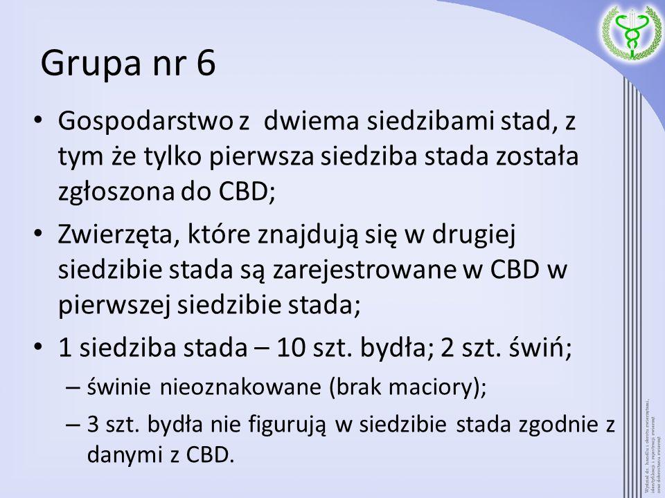 Grupa nr 6 2 siedziba stada – 5 szt.bydła; 3 szt.