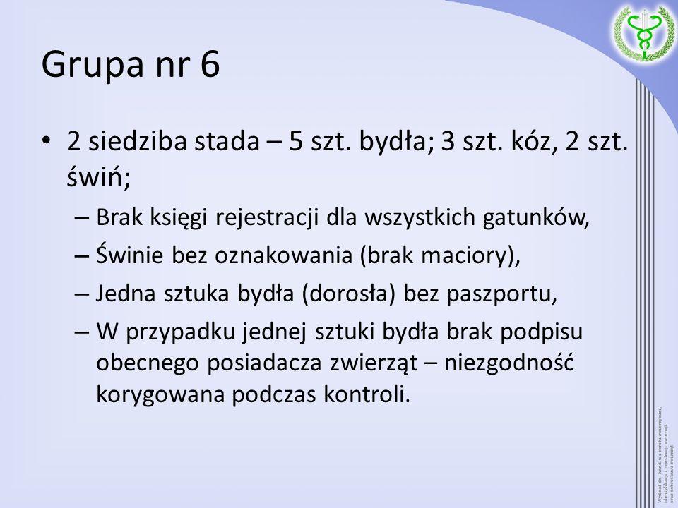 Grupa nr 7 Gospodarstwo z 1 siedzibą stada – 50 sztuk bydła; 40 sztuk świń; – we wszystkich paszportach brak podpisu pierwszego i kolejnych posiadaczy zwierząt (obecny posiadacz nie jest pierwszym), – w dwóch paszportach błąd w dacie urodzenia; – w dwóch paszportach błąd w płci zwierząt; – 5 sztuk bydła z jednym kolczykiem i jest dziura po kolczyku na drugiej małżowinie usznej, a rolnik nie złożył wniosku do ARiMR o duplikaty; – w księdze rejestracji świń brak wpisu o wprowadzeniu do stada 21 sztuk zwierząt.