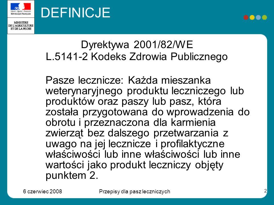6 czerwiec 2008Przepisy dla pasz leczniczych 2 Dyrektywa 2001/82/WE L.5141-2 Kodeks Zdrowia Publicznego Pasze lecznicze: Każda mieszanka weterynaryjnego produktu leczniczego lub produktów oraz paszy lub pasz, która została przygotowana do wprowadzenia do obrotu i przeznaczona dla karmienia zwierząt bez dalszego przetwarzania z uwago na jej lecznicze i profilaktyczne właściwości lub inne właściwości lub inne wartości jako produkt leczniczy objęty punktem 2.