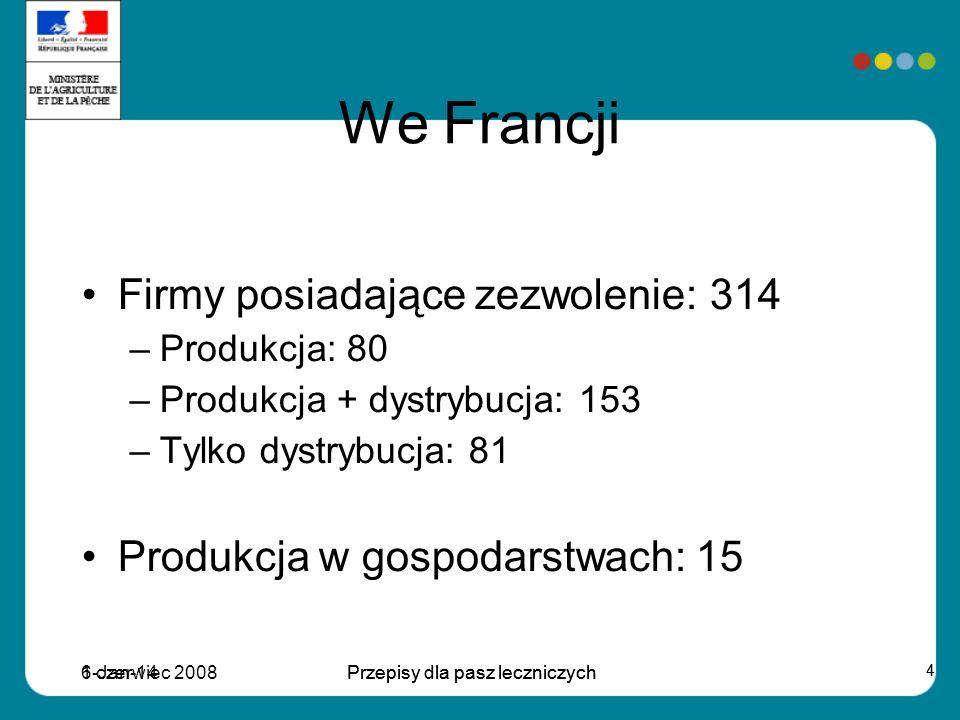 6 czerwiec 2008Przepisy dla pasz leczniczych 4 1-Jan-14Przepisy dla pasz leczniczych 4 We Francji Firmy posiadające zezwolenie: 314 –Produkcja: 80 –Produkcja + dystrybucja: 153 –Tylko dystrybucja: 81 Produkcja w gospodarstwach: 15
