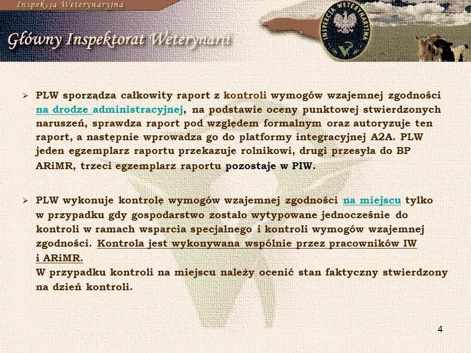 4 PLW sporządza całkowity raport z kontroli wymogów wzajemnej zgodności na drodze administracyjnej, na podstawie oceny punktowej stwierdzonych narusze
