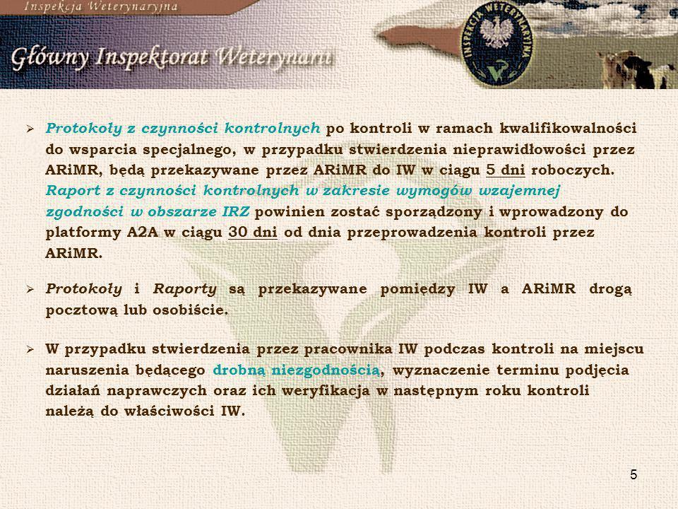 5 Protokoły z czynności kontrolnych po kontroli w ramach kwalifikowalności do wsparcia specjalnego, w przypadku stwierdzenia nieprawidłowości przez AR