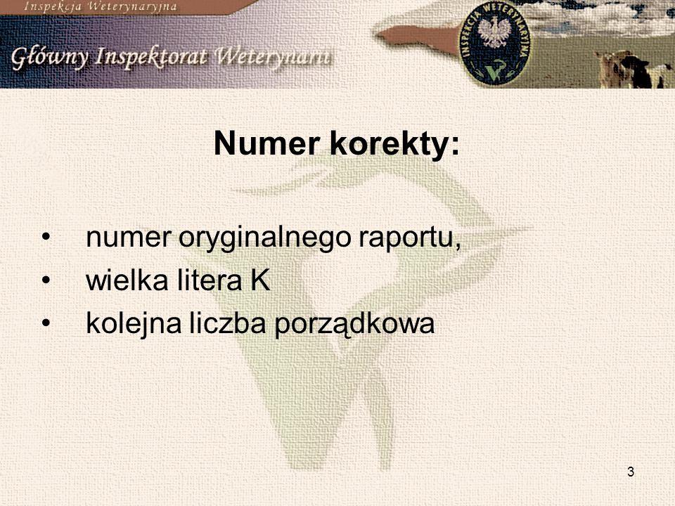 3 Numer korekty: numer oryginalnego raportu, wielka litera K kolejna liczba porządkowa