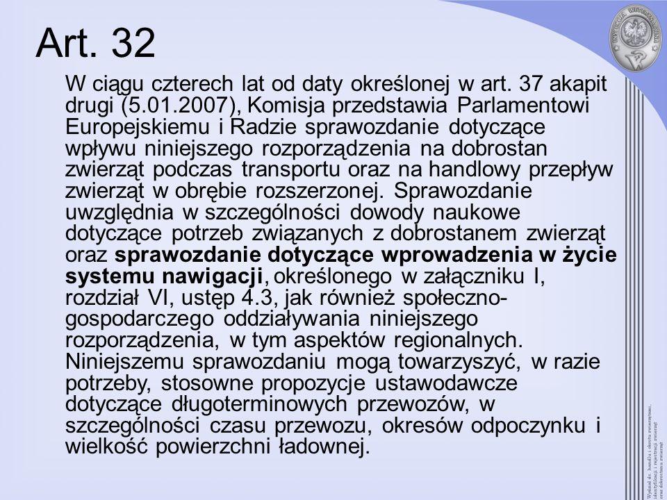 Art. 32 W ciągu czterech lat od daty określonej w art. 37 akapit drugi (5.01.2007), Komisja przedstawia Parlamentowi Europejskiemu i Radzie sprawozdan