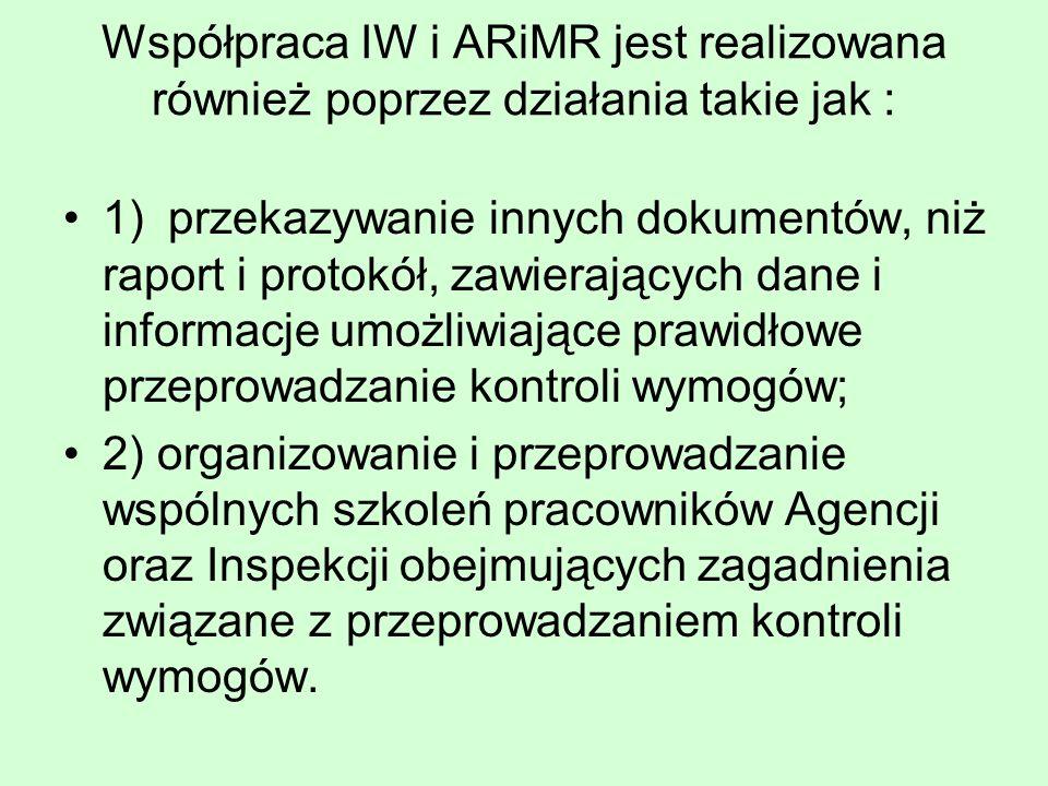Współpraca IW i ARiMR jest realizowana również poprzez działania takie jak : 1)przekazywanie innych dokumentów, niż raport i protokół, zawierających dane i informacje umożliwiające prawidłowe przeprowadzanie kontroli wymogów; 2) organizowanie i przeprowadzanie wspólnych szkoleń pracowników Agencji oraz Inspekcji obejmujących zagadnienia związane z przeprowadzaniem kontroli wymogów.