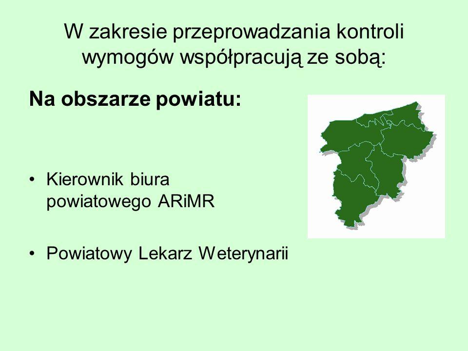 W zakresie przeprowadzania kontroli wymogów współpracują ze sobą: Na obszarze powiatu: Kierownik biura powiatowego ARiMR Powiatowy Lekarz Weterynarii