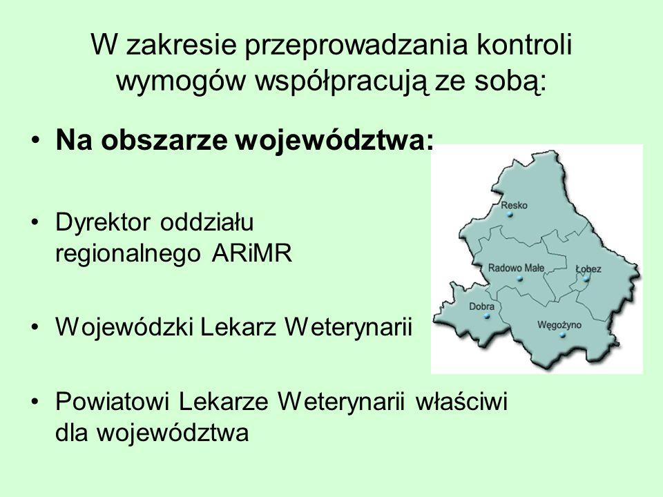W zakresie przeprowadzania kontroli wymogów współpracują ze sobą: Na obszarze województwa: Dyrektor oddziału regionalnego ARiMR Wojewódzki Lekarz Weterynarii Powiatowi Lekarze Weterynarii właściwi dla województwa