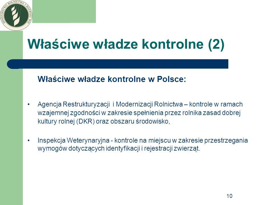 10 Właściwe władze kontrolne (2) Właściwe władze kontrolne w Polsce: Agencja Restrukturyzacji i Modernizacji Rolnictwa – kontrole w ramach wzajemnej z