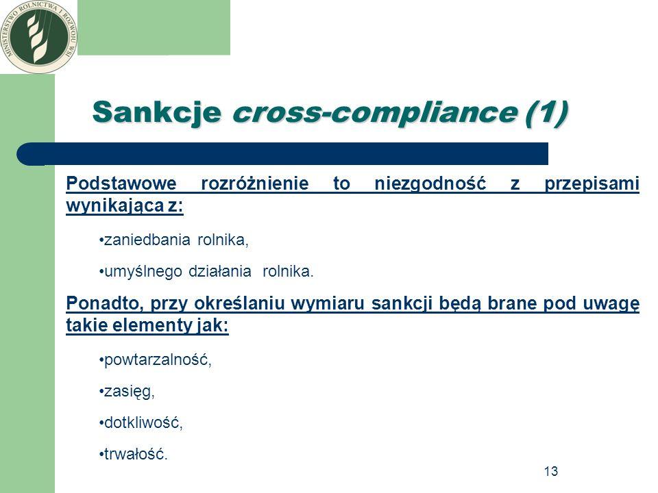13 Sankcje cross-compliance (1) Podstawowe rozróżnienie to niezgodność z przepisami wynikająca z: zaniedbania rolnika, umyślnego działania rolnika. Po