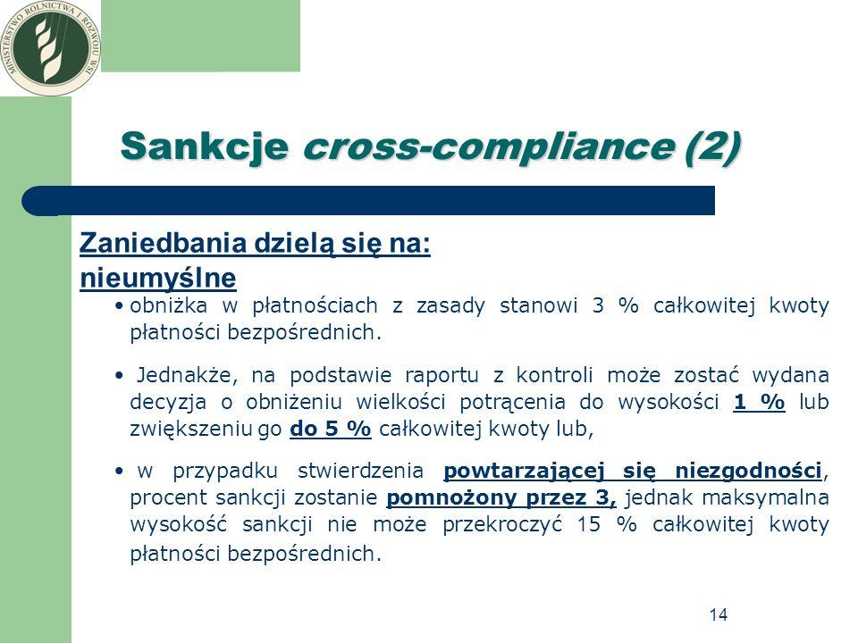 14 Sankcje cross-compliance (2) Zaniedbania dzielą się na: nieumyślne obniżka w płatnościach z zasady stanowi 3 % całkowitej kwoty płatności bezpośred