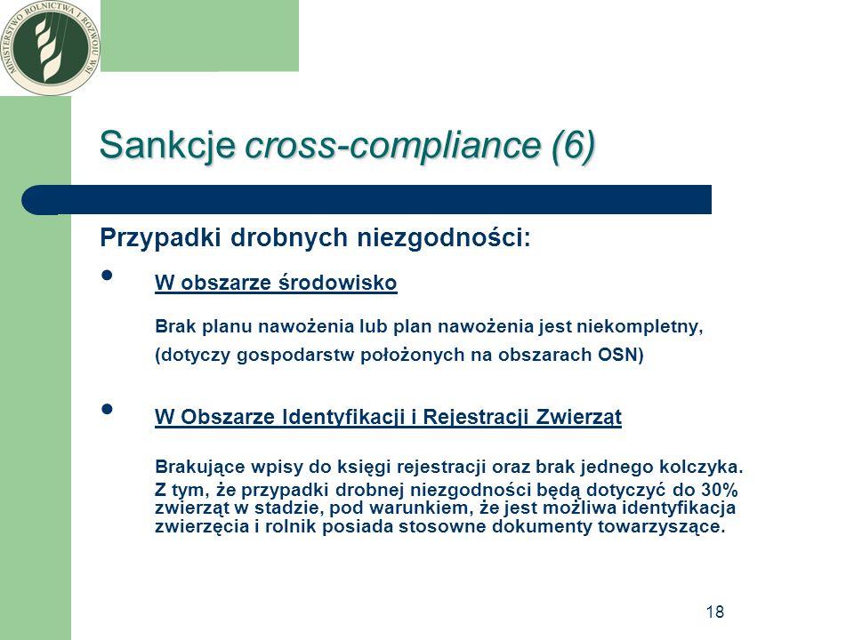18 Sankcje cross-compliance (6) Przypadki drobnych niezgodności: W obszarze środowisko Brak planu nawożenia lub plan nawożenia jest niekompletny, (dot