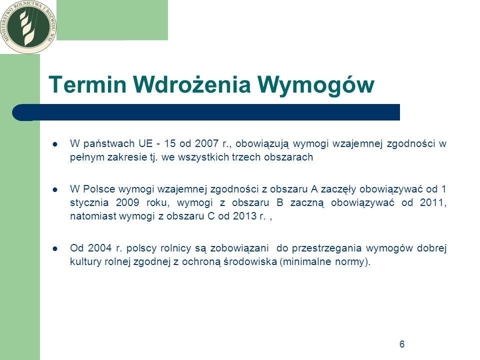 6 Termin Wdrożenia Wymogów W państwach UE - 15 od 2007 r., obowiązują wymogi wzajemnej zgodności w pełnym zakresie tj. we wszystkich trzech obszarach