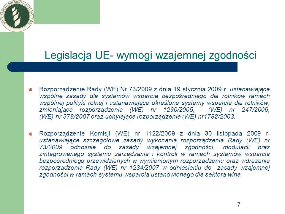 8 Legislacja krajowa-wymogi wzajemnej zgodności Ustawa z dnia 26 stycznia 2007 roku o płatnościach w ramach systemów wsparcia bezpośredniego (Dz.