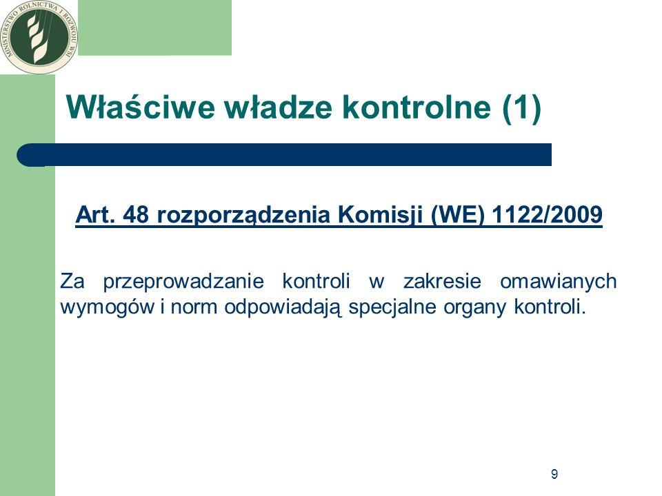 9 Właściwe władze kontrolne (1) Art. 48 rozporządzenia Komisji (WE) 1122/2009 Za przeprowadzanie kontroli w zakresie omawianych wymogów i norm odpowia