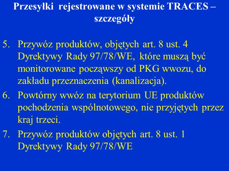 Przesyłki rejestrowane w systemie TRACES – szczegóły 5.Przywóz produktów, objętych art.