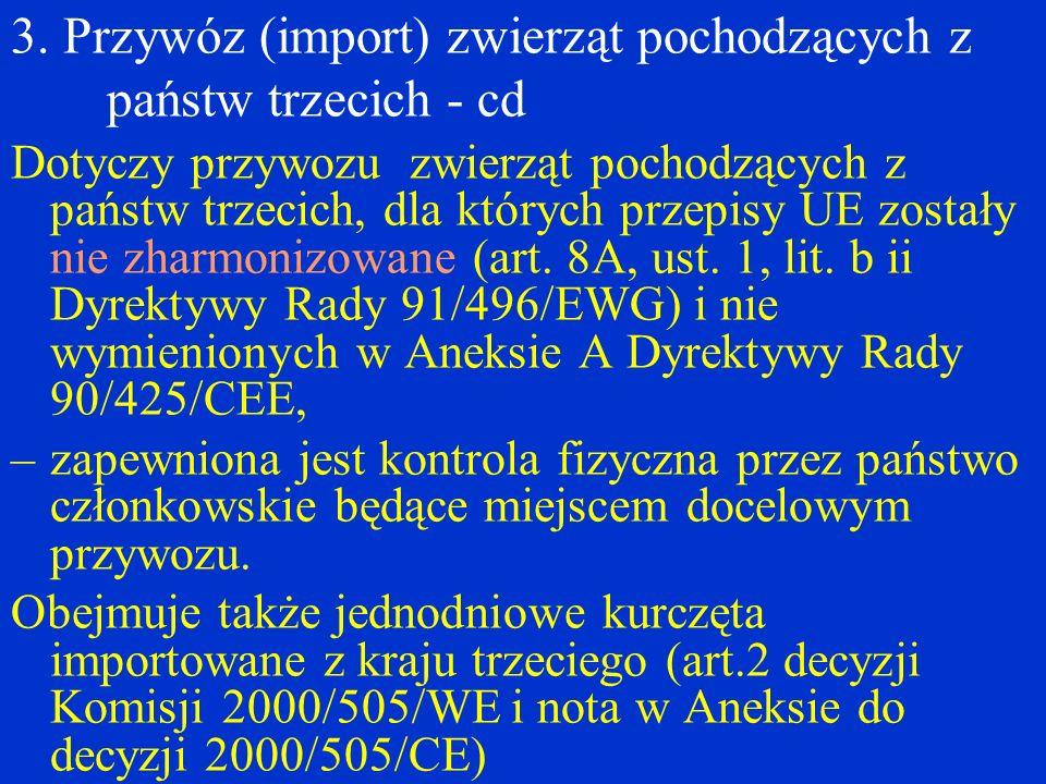 3. Przywóz (import) zwierząt pochodzących z państw trzecich - cd Dotyczy przywozu zwierząt pochodzących z państw trzecich, dla których przepisy UE zos