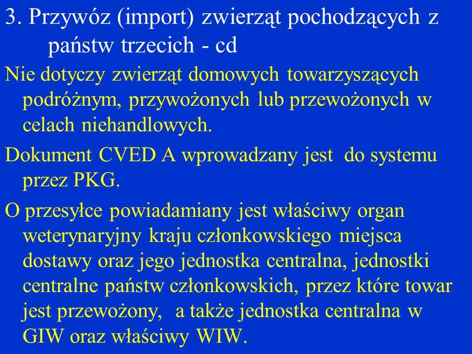 3. Przywóz (import) zwierząt pochodzących z państw trzecich - cd Nie dotyczy zwierząt domowych towarzyszących podróżnym, przywożonych lub przewożonych