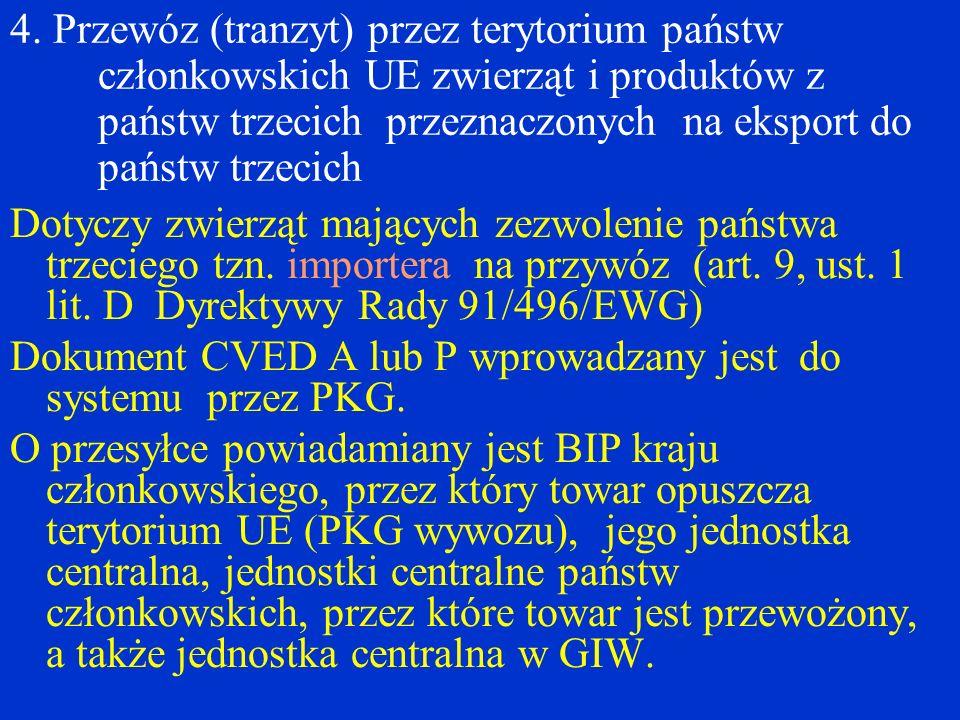 4. Przewóz (tranzyt) przez terytorium państw członkowskich UE zwierząt i produktów z państw trzecich przeznaczonych na eksport do państw trzecich Doty