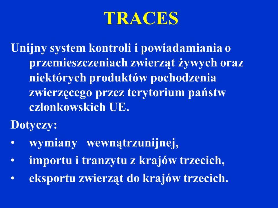 TRACES Unijny system kontroli i powiadamiania o przemieszczeniach zwierząt żywych oraz niektórych produktów pochodzenia zwierzęcego przez terytorium państw członkowskich UE.