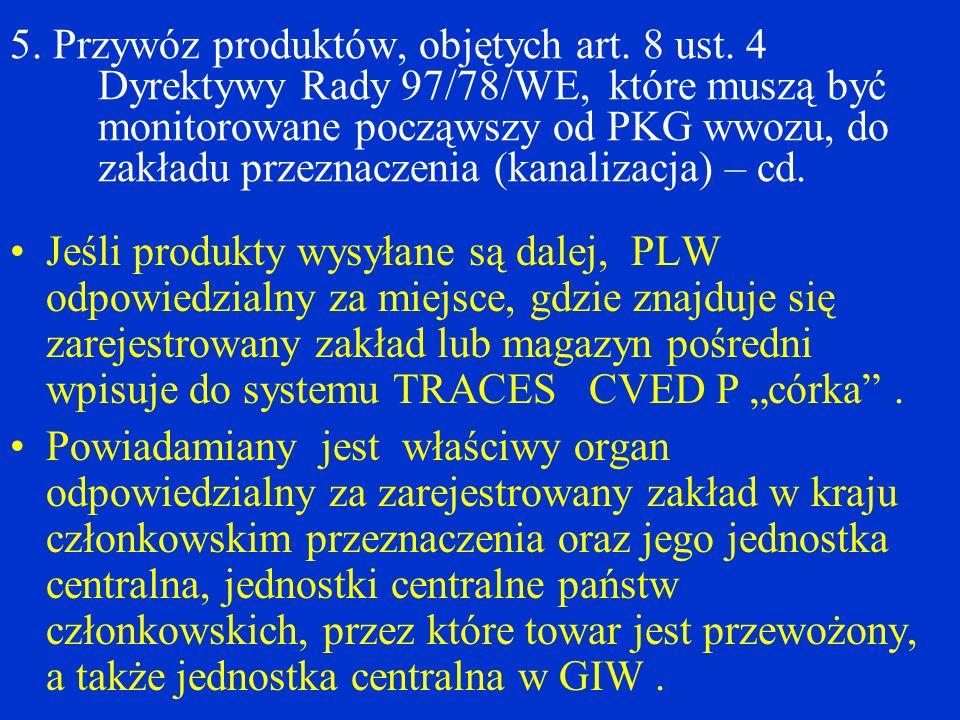 5.Przywóz produktów, objętych art. 8 ust.