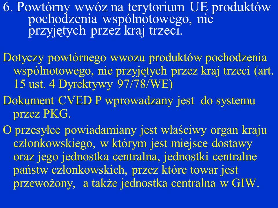 6. Powtórny wwóz na terytorium UE produktów pochodzenia wspólnotowego, nie przyjętych przez kraj trzeci. Dotyczy powtórnego wwozu produktów pochodzeni