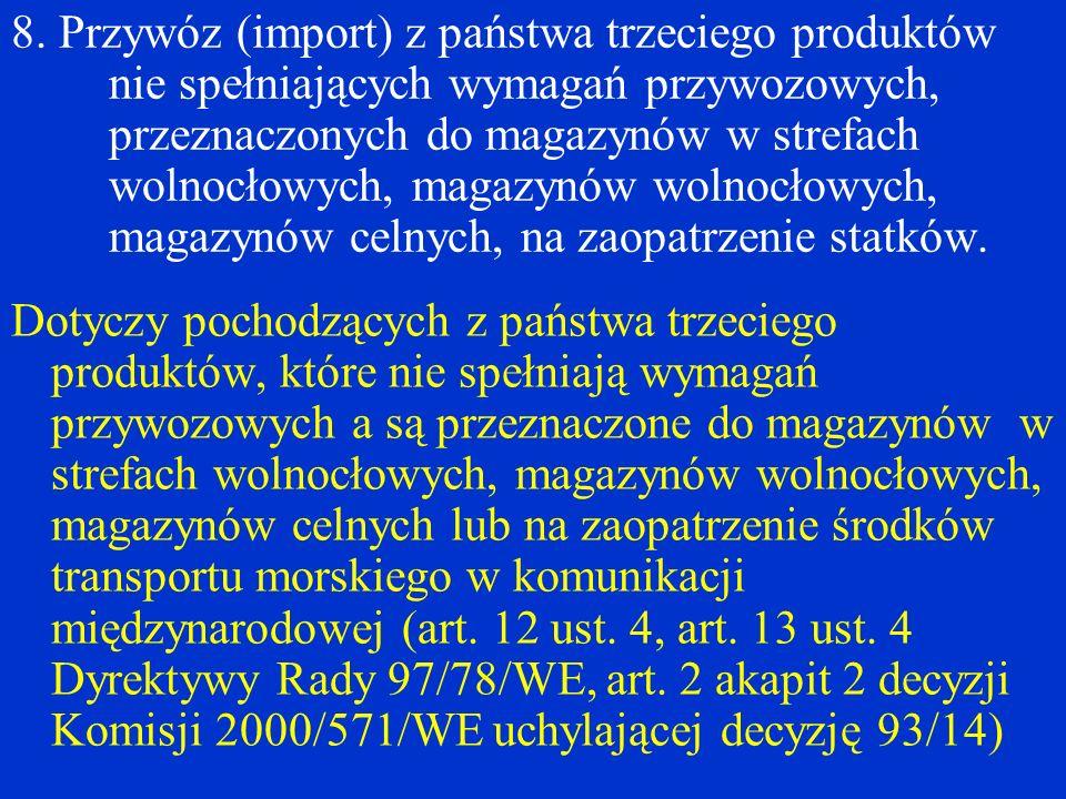 8. Przywóz (import) z państwa trzeciego produktów nie spełniających wymagań przywozowych, przeznaczonych do magazynów w strefach wolnocłowych, magazyn