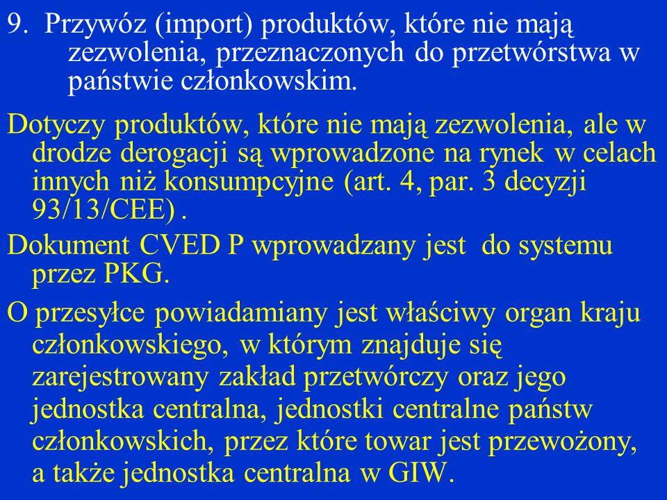 9. Przywóz (import) produktów, które nie mają zezwolenia, przeznaczonych do przetwórstwa w państwie członkowskim. Dotyczy produktów, które nie mają ze