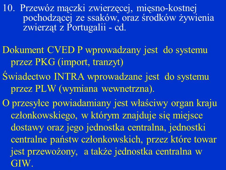 10. Przewóz mączki zwierzęcej, mięsno-kostnej pochodzącej ze ssaków, oraz środków żywienia zwierząt z Portugalii - cd. Dokument CVED P wprowadzany jes