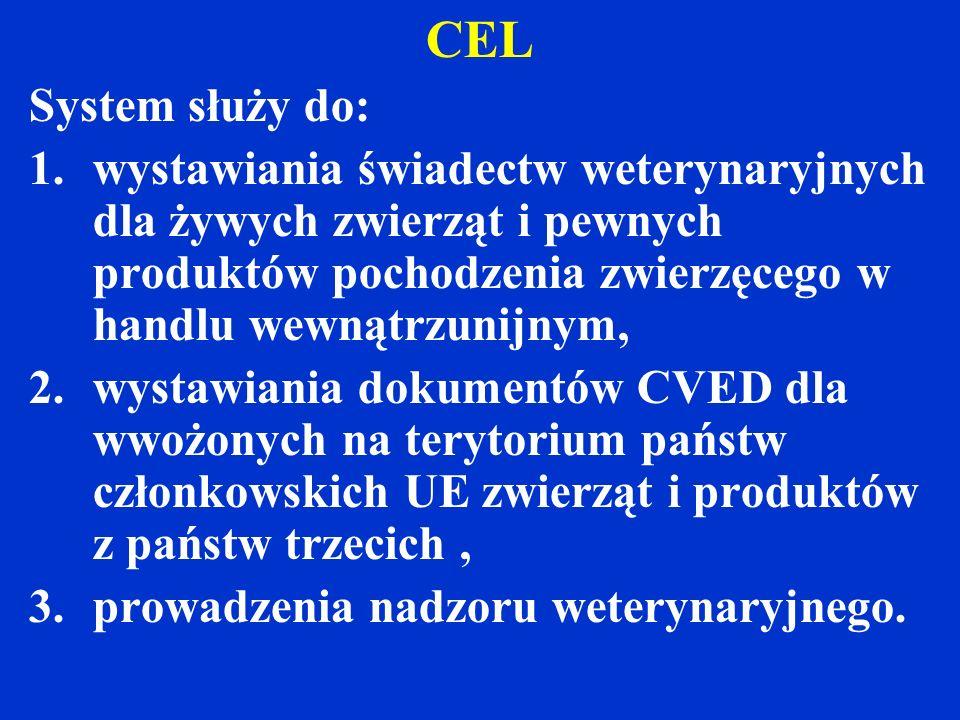 CEL System służy do: 1.wystawiania świadectw weterynaryjnych dla żywych zwierząt i pewnych produktów pochodzenia zwierzęcego w handlu wewnątrzunijnym, 2.wystawiania dokumentów CVED dla wwożonych na terytorium państw członkowskich UE zwierząt i produktów z państw trzecich, 3.prowadzenia nadzoru weterynaryjnego.