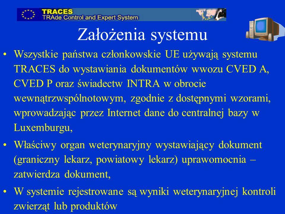 Założenia systemu Wszystkie państwa członkowskie UE używają systemu TRACES do wystawiania dokumentów wwozu CVED A, CVED P oraz świadectw INTRA w obrocie wewnątrzwspólnotowym, zgodnie z dostępnymi wzorami, wprowadzając przez Internet dane do centralnej bazy w Luxemburgu, Właściwy organ weterynaryjny wystawiający dokument (graniczny lekarz, powiatowy lekarz) uprawomocnia – zatwierdza dokument, W systemie rejestrowane są wyniki weterynaryjnej kontroli zwierząt lub produktów