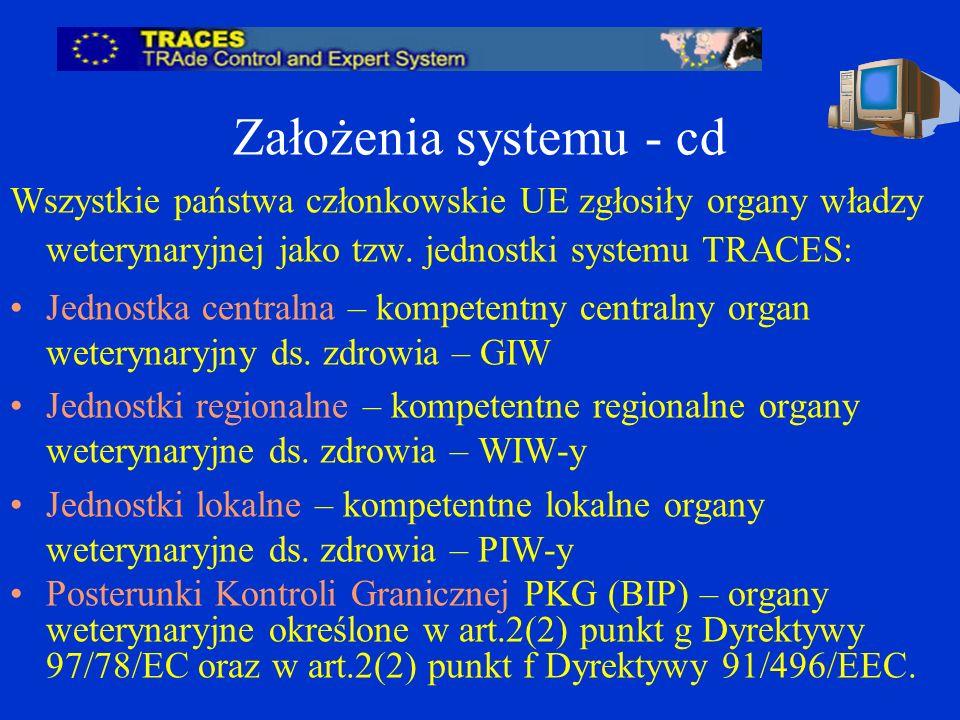 Założenia systemu - cd Wszystkie państwa członkowskie UE zgłosiły organy władzy weterynaryjnej jako tzw.