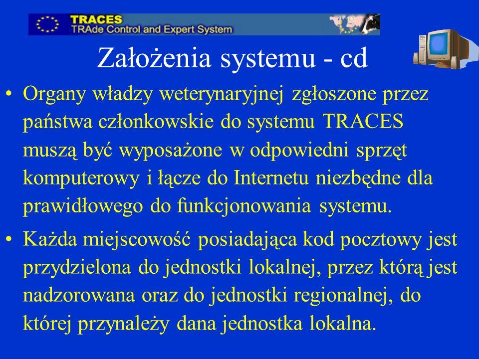 Założenia systemu - cd Organy władzy weterynaryjnej zgłoszone przez państwa członkowskie do systemu TRACES muszą być wyposażone w odpowiedni sprzęt komputerowy i łącze do Internetu niezbędne dla prawidłowego do funkcjonowania systemu.