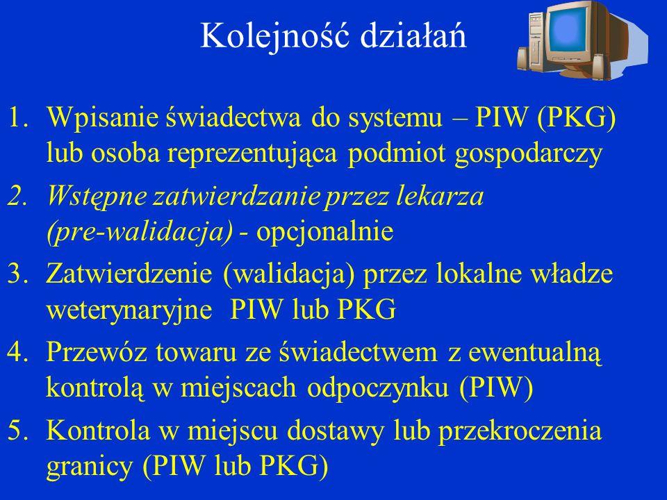 Kolejność działań 1.Wpisanie świadectwa do systemu – PIW (PKG) lub osoba reprezentująca podmiot gospodarczy 2.Wstępne zatwierdzanie przez lekarza (pre-walidacja) - opcjonalnie 3.Zatwierdzenie (walidacja) przez lokalne władze weterynaryjne PIW lub PKG 4.Przewóz towaru ze świadectwem z ewentualną kontrolą w miejscach odpoczynku (PIW) 5.Kontrola w miejscu dostawy lub przekroczenia granicy (PIW lub PKG)