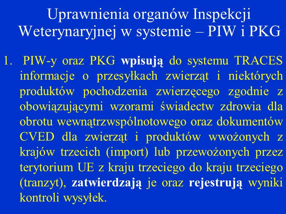 Uprawnienia organów Inspekcji Weterynaryjnej w systemie – PIW i PKG 1.