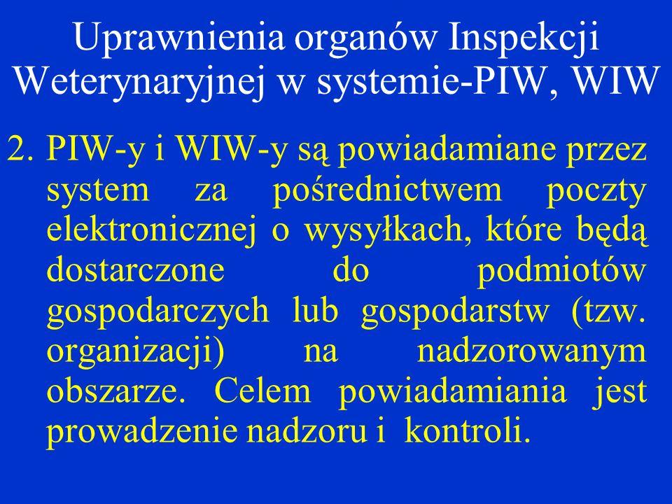 2.PIW-y i WIW-y są powiadamiane przez system za pośrednictwem poczty elektronicznej o wysyłkach, które będą dostarczone do podmiotów gospodarczych lub gospodarstw (tzw.