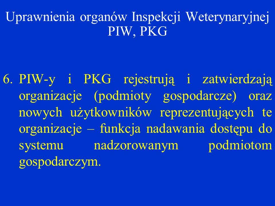 Uprawnienia organów Inspekcji Weterynaryjnej PIW, PKG 6.PIW-y i PKG rejestrują i zatwierdzają organizacje (podmioty gospodarcze) oraz nowych użytkowników reprezentujących te organizacje – funkcja nadawania dostępu do systemu nadzorowanym podmiotom gospodarczym.