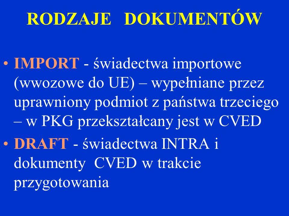 IMPORT - świadectwa importowe (wwozowe do UE) – wypełniane przez uprawniony podmiot z państwa trzeciego – w PKG przekształcany jest w CVED DRAFT - świadectwa INTRA i dokumenty CVED w trakcie przygotowania RODZAJE DOKUMENTÓW