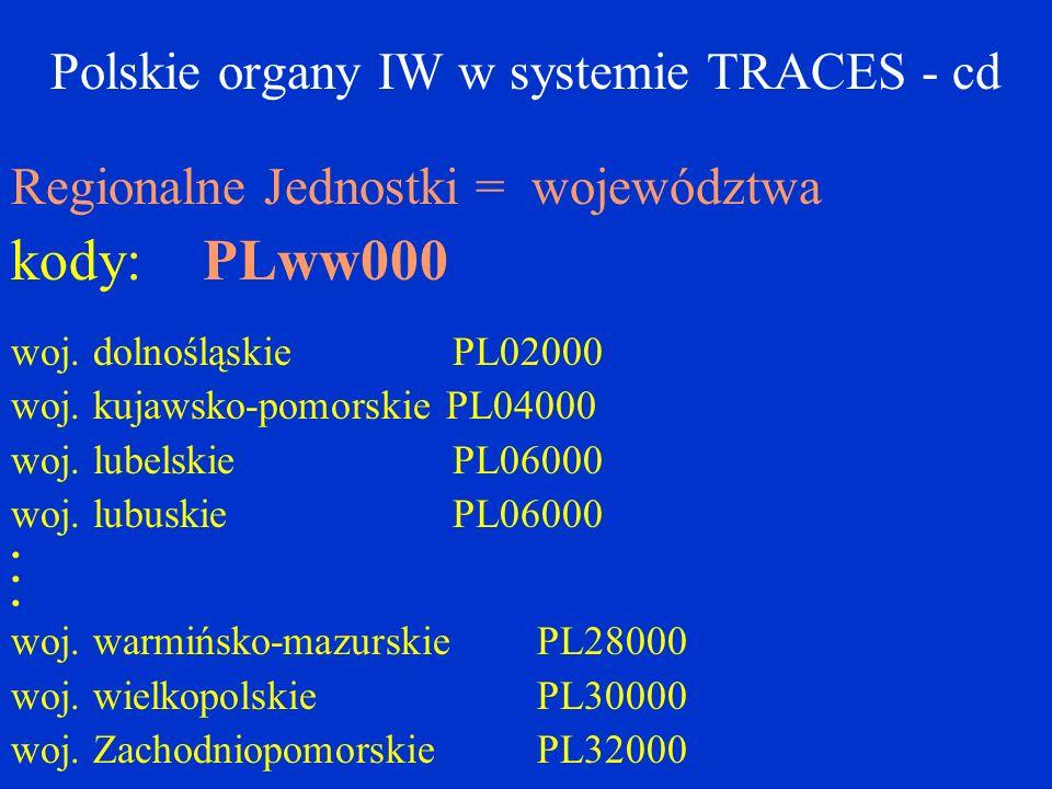 Polskie organy IW w systemie TRACES - cd Regionalne Jednostki = województwa kody: PLww000 woj.