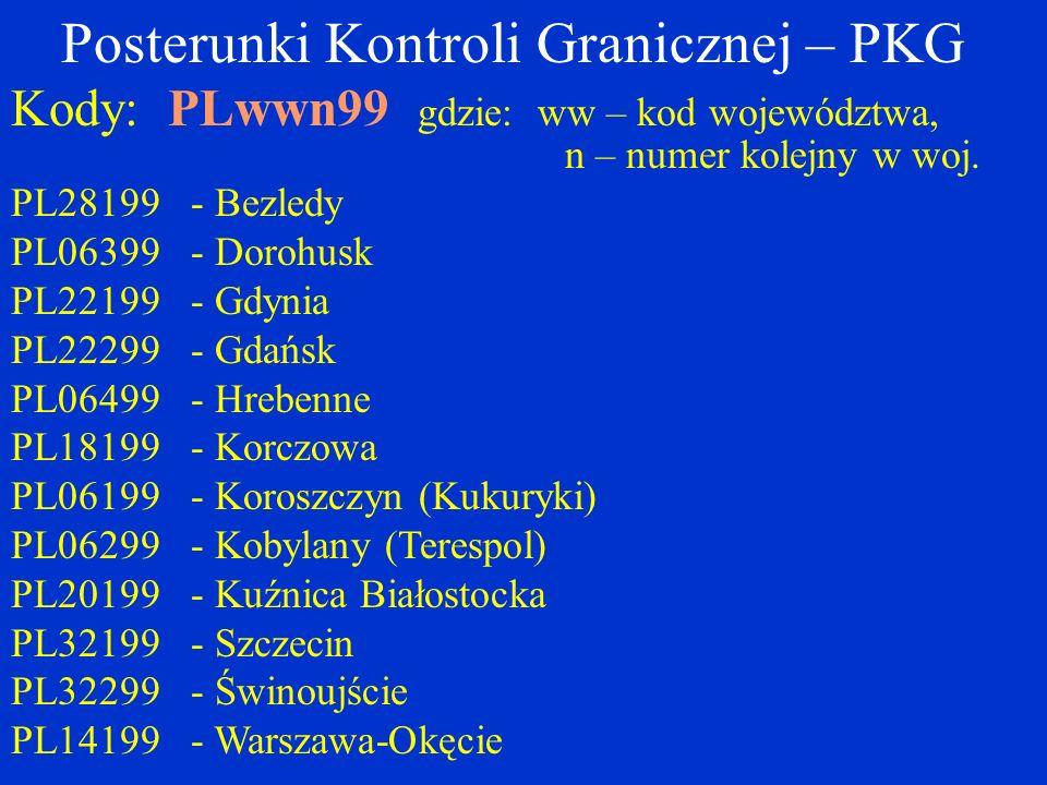 Posterunki Kontroli Granicznej – PKG Kody: PLwwn99 gdzie: ww – kod województwa, n – numer kolejny w woj.