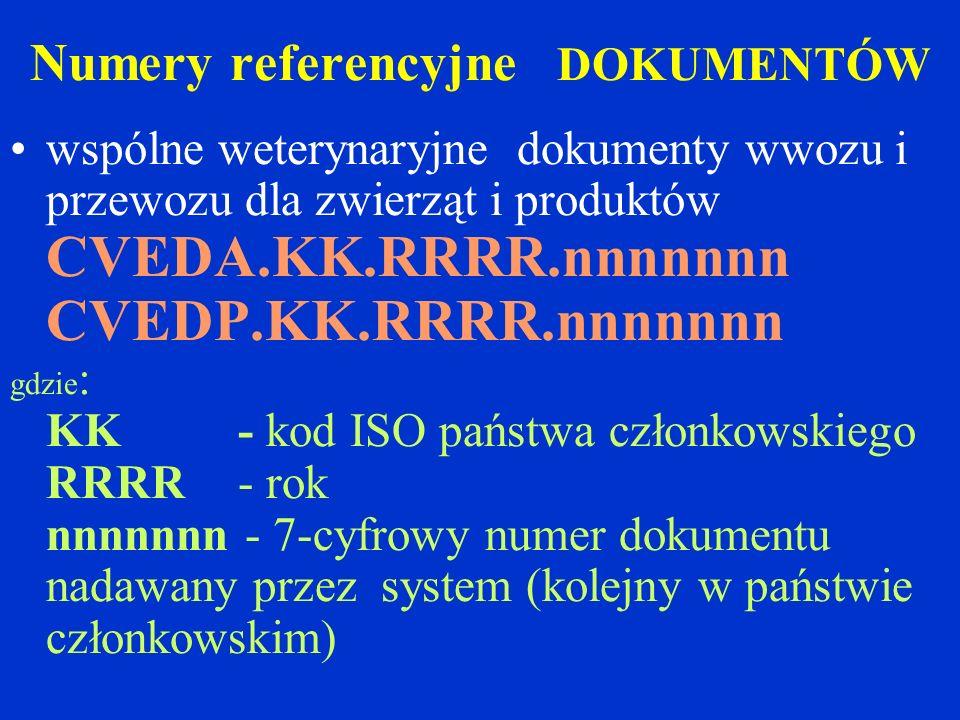 Numery referencyjne DOKUMENTÓW wspólne weterynaryjne dokumenty wwozu i przewozu dla zwierząt i produktów CVEDA.KK.RRRR.nnnnnnn CVEDP.KK.RRRR.nnnnnnn gdzie : KK - kod ISO państwa członkowskiego RRRR - rok nnnnnnn - 7-cyfrowy numer dokumentu nadawany przez system (kolejny w państwie członkowskim)