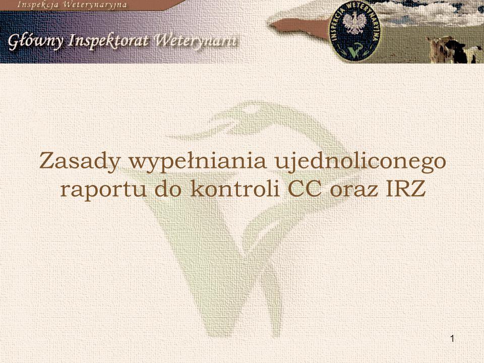2 Raport: IRZ, CC – obszar A, CC – obszar B, kontrole sprawdzające.