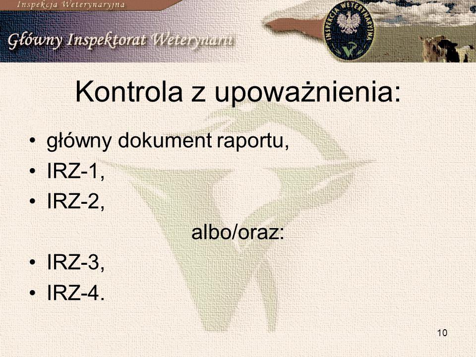 10 Kontrola z upoważnienia: główny dokument raportu, IRZ-1, IRZ-2, albo/oraz: IRZ-3, IRZ-4.