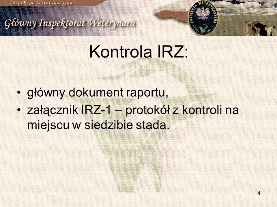 5 Kontrola CC: główny dokument raportu, obszar A - załącznik IRZ-1 oraz IRZ-2, obszar B - załącznik IRZ-3 oraz IRZ-4, obszar A i B - załącznik IRZ-1, IRZ-2, IRZ-3 oraz IRZ-4.