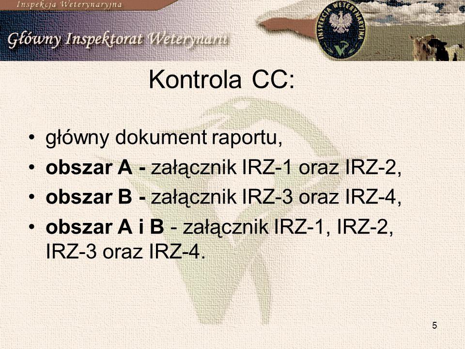 5 Kontrola CC: główny dokument raportu, obszar A - załącznik IRZ-1 oraz IRZ-2, obszar B - załącznik IRZ-3 oraz IRZ-4, obszar A i B - załącznik IRZ-1,