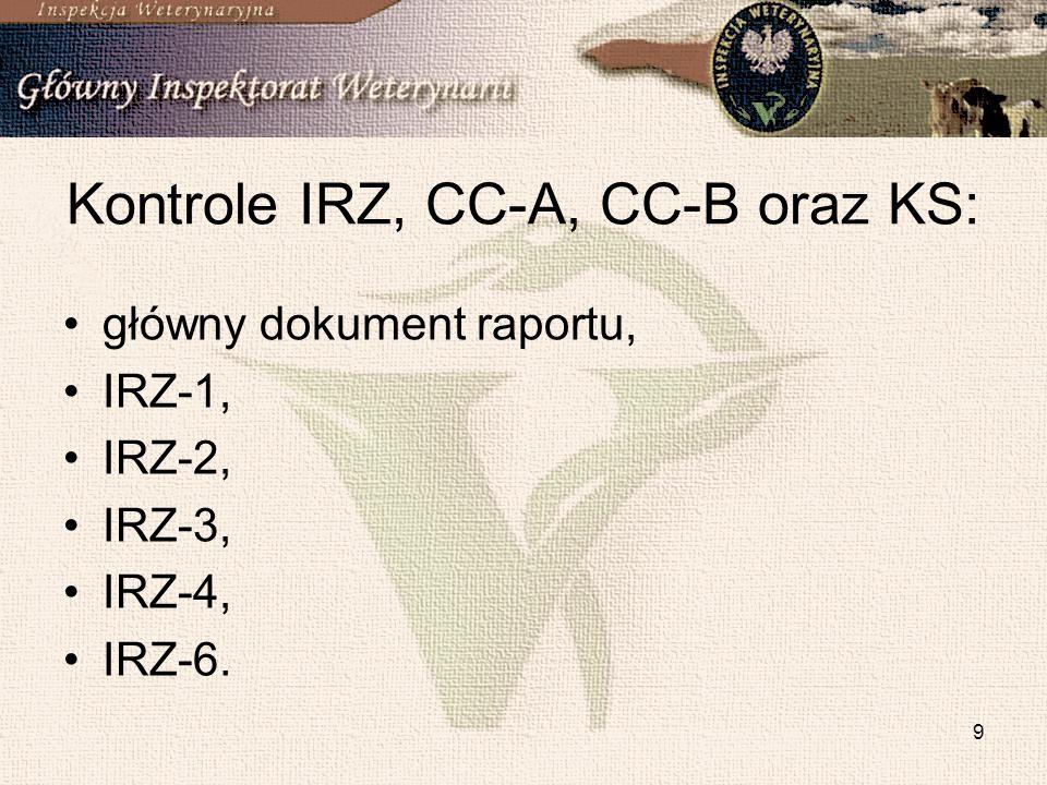 9 Kontrole IRZ, CC-A, CC-B oraz KS: główny dokument raportu, IRZ-1, IRZ-2, IRZ-3, IRZ-4, IRZ-6.